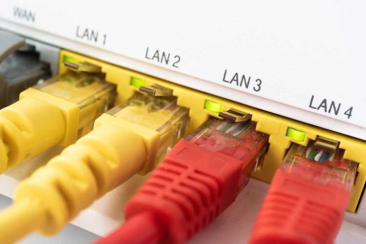 Ein Router mit eingesteckten LAN-Kabeln in Detailansicht