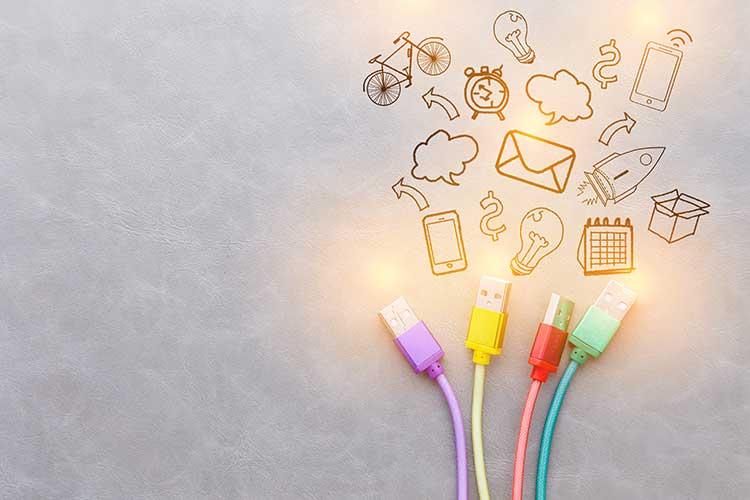 DSL: Einsatzmöglichkeiten werden anhand von DSL-Kabeln gezeigt, die zu aussagekräftigen Icons hinführen