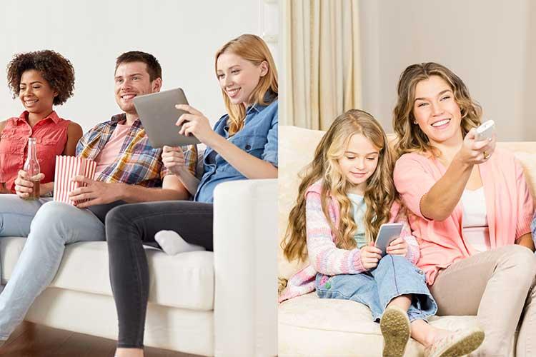 DSL: links sitzen junge Leute mit einem Tablet, rechts Mutter Tochter mit einem Handy vor dem Fernseher
