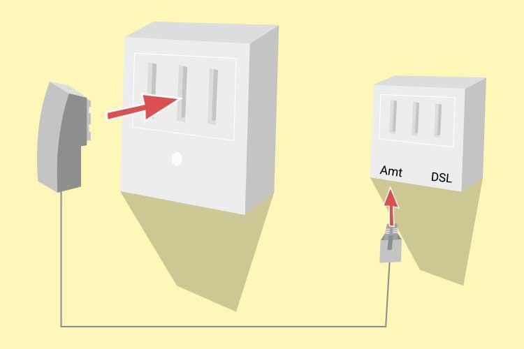 Bevor die Fritzbox angeschlossen werden kann, muss die TAE-Dose mit dem Splitter verbunden werden.