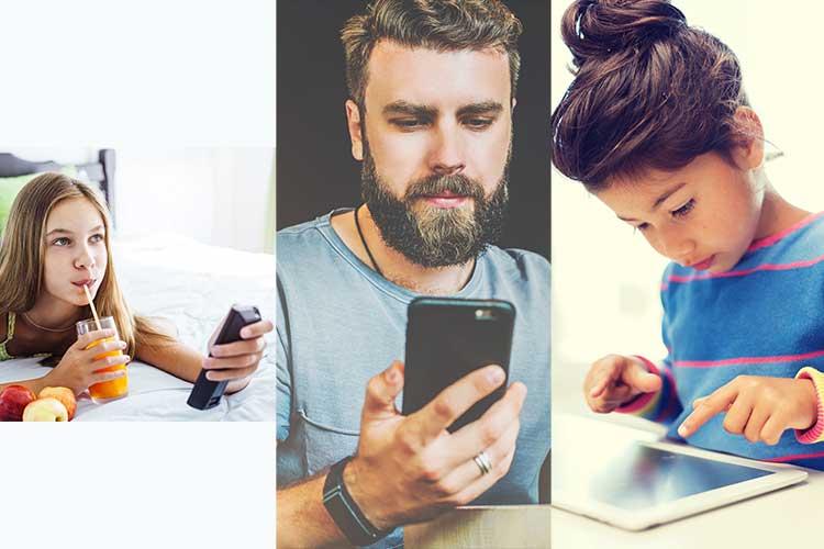 DSL Geschwindigkeit: links ein junges Mädchen mit einer Fernbedienung, in der Mitte ein Mann mit Smartphone, rechts ein Kind mit Tablet