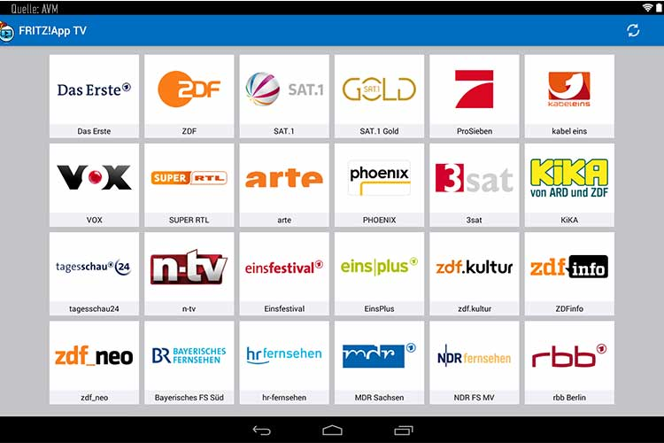Fernsehprogramme über die FritzBox