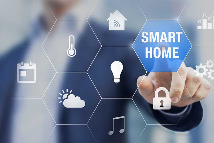 Z-Wave als Funkstandard für Smart Home: Der Schriftzug Smart Home wurde in einem Gitternetz hervorgehoben