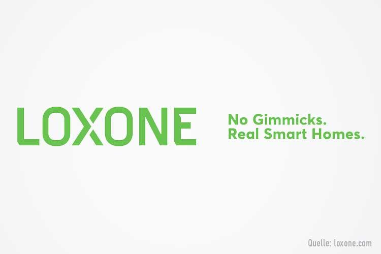 Loxone Logo: Grüne Schrift auf weißem Grund