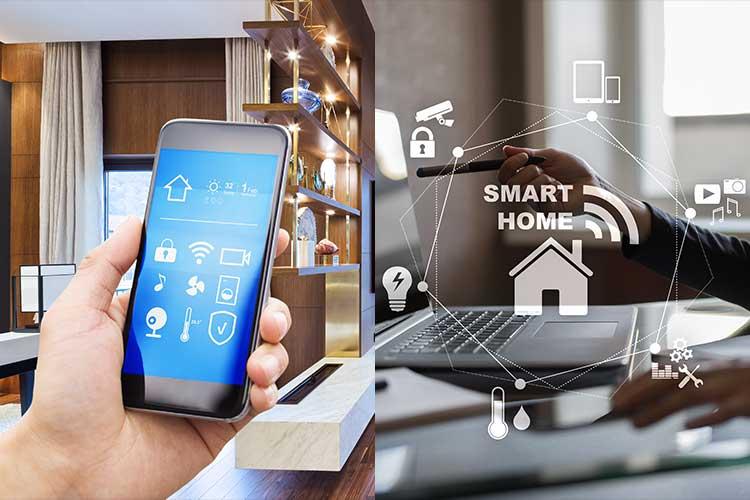 Z-Wave zur Hausautomation mit Fernsteuerung: Links hält eine Hand ein Smartphone, rechts sitzt jemand an einem Computer