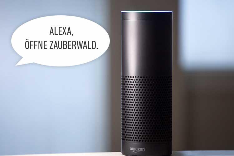 Alexa Skills: Amazon Echo mit Sprechblase Öffne Zauberwald