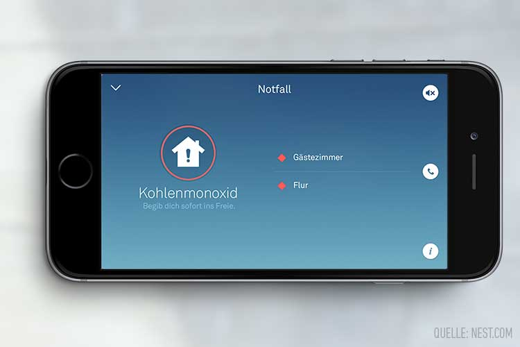 Nest: Warnung vor Rauch und Kohlenmonoxid auf Smartphone-Display