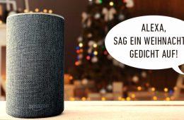 Alexa Weihnachts-Skills: Amazon Echo mit Sprachbefehl und weihnachtlichem Hintergrund