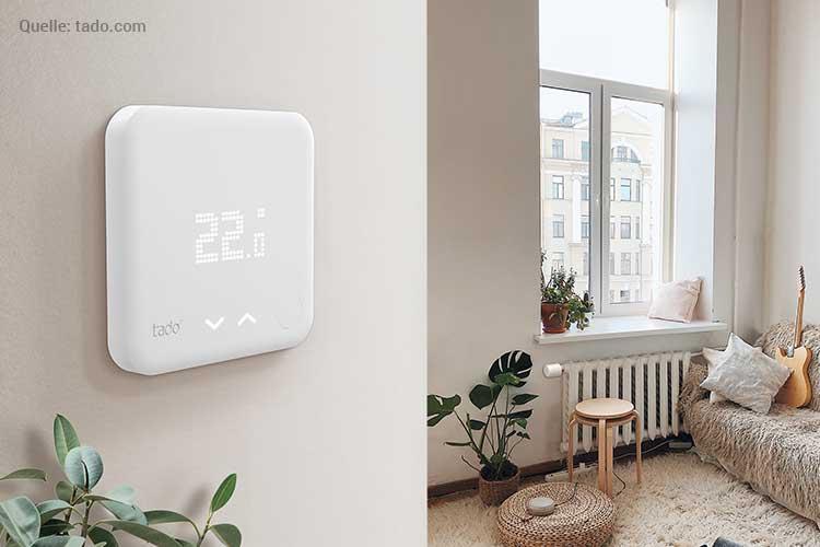 Smartes Tado Thermostat installieren : Raum mit Thermostat an der Wand