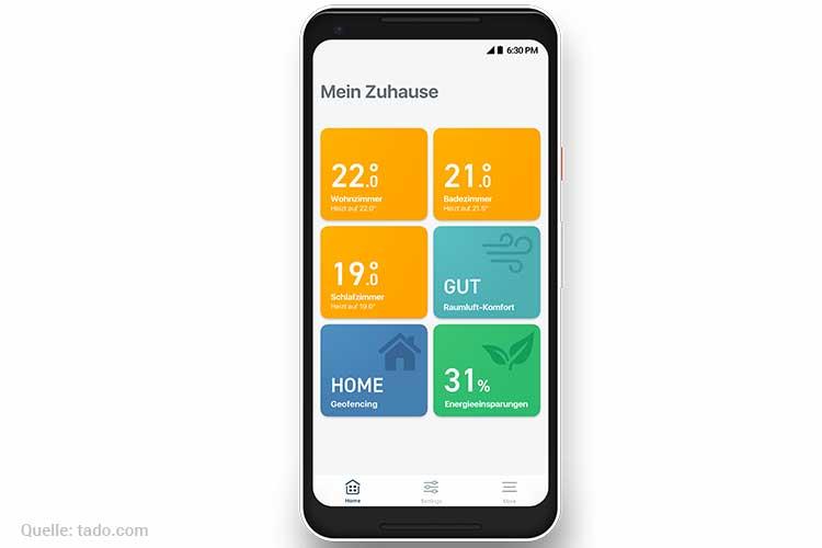 Tado Heizkörperthermostat installieren - Smartphone App mit Home Screen