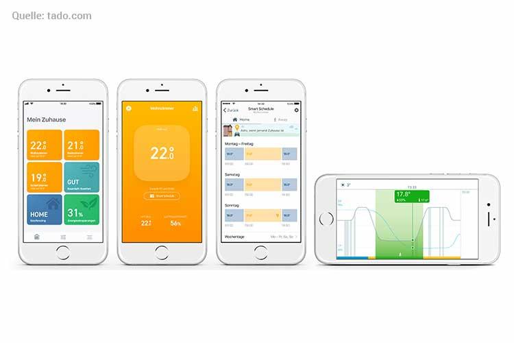 Smartes Heizkörper-Thermostat installieren: Screenshot Tado App auf vier Handys